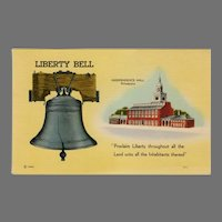 Vintage Patriotic Postcard - The U.S. Liberty Bell & Independence Hall