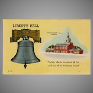 Vintage Patriotic Postcard - The U.S. Liberty Bell & Independence Hall