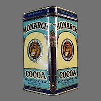 "Vintage Sample Cocoa Tin -  3"" Tall Monarch Breakfast Cocoa with Nice Graphics"