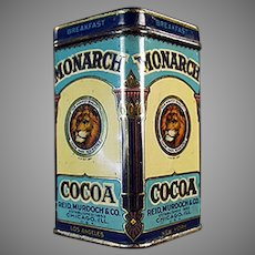 """Vintage Sample Cocoa Tin -  3"""" Tall Monarch Breakfast Cocoa with Nice Graphics"""