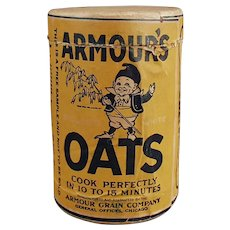 "Vintage Sample Oat Box - 4"" Armour's Oat Cereal Box with Elf Graphics"