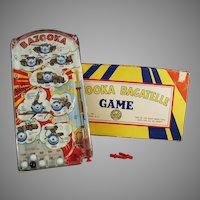 Vintage Marx Bazooka Bagatelle Military Marble Game with Original Toy Box