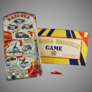 Vintage Marx Bazooka Bagatelle Military Marble Game with Original Toy Box