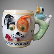 """Child's Vintage """"All Gone"""" Milk Cup with Dog & Whistling Bird Handle"""
