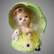 Vintage Josef Original Porcelain Ceramic – Little Girl Under Large Umbrella