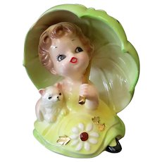 Vintage Josef Original Porcelain Ceramic – Little Girl Under Large Umbrella