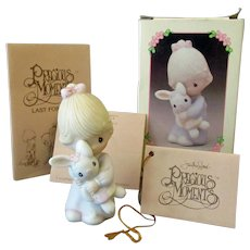 Vintage Enesco Precious Moments Jesus Loves Me with Original Box – Girl with Bunny
