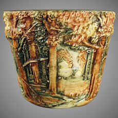Small Vintage Weller Art Pottery Jardiniere - 1915-1920 Forest Line