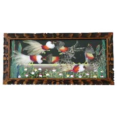 Vintage Bird Feather Art – Colorful Fighting Cocks - Framed Wall Hanging