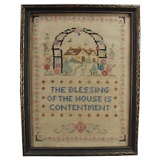 Vintage House Blessing Cross Stitch - Old Framed Needlework