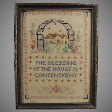 Vintage House Blessing Cross Stitch - Old Framed Needlework