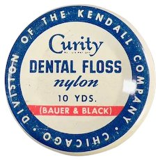Vintage Curity Dental Floss Tin by Bauer & Black Medical Advertising