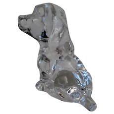 Vintage Glass Dog Paperweight - 1979 Goebel Puppy Figural Weight