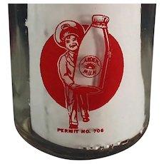 Vintage Arden Farms Half Pint Milk Bottle w- Pyroglazed Advertising