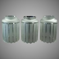 Three Vintage Large Neck Light Fixture Shades - Frosted Deco Style