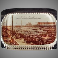 Vintage Glass Advertising Paperweight - Chicago Union Stock Yards - Busy Alley