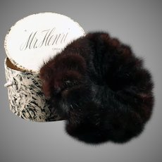 Vintage Marshall Fields Mink Pillbox Hat - Mr. Henri Creation with Original Box