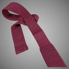 Vintage Skinny Tie - Private Club - Wool Knit, Square Bottom Necktie