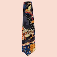 Man's Vintage Necktie with Striking Oriental Geishas - Wide Style Neck Tie