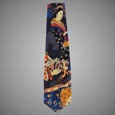 Man's Vintage Necktie with Striking Oriental Geishas - Wide Style Neck Tie