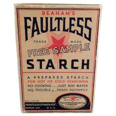 Vintage Faultless Starch Sample Box - Unopened Kitchen/Laundry Room Advertising