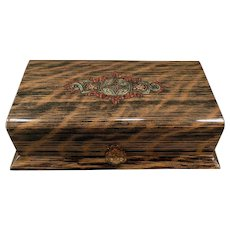 Vintage Celluloid Dresser Box – Masculine Wood Grain Appearance Vanity Case