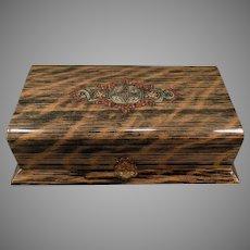 Vintage Celluloid Dresser Box – Masculine Wood Grain Appearance Vanity Case