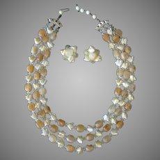 Vintage Costume Jewelry - Bead Necklace & Earrings in Shades of Summer Lemonade