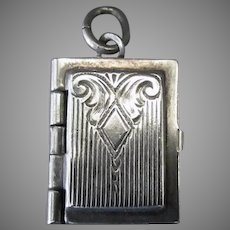 Vintage Sterling Silver Opening Book Charm with Chased Design