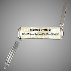 Vintage Chapman Co. Advertising Pocket Knife - Small Pen Knife