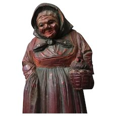 Carved Peasant Woman with a Chicken in a Basket – Folk Art Wood Carving
