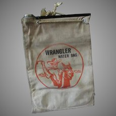 Vintage Wrangler Water Bag with Cowboy and Horse Graphics