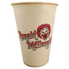 Vintage Ronald Mc Donald Dixie Cup – 1960's McDonald's Advertising