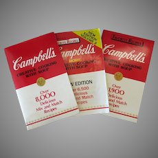 Three Vintage Campbell's Creative Cooking with Soup Advertising Recipe Booklets – 1985 1986 1987