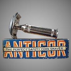 Vintage 1911 Anticor Corn Razor with Original Tin - German Corn Shaver