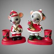 Vintage Napcoware Christmas Mice Candleholders - Mr & Mrs. Santa Mouse