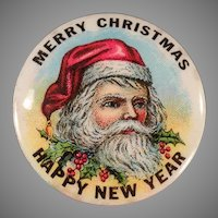 Vintage Santa Claus Celluloid Pinback - Christmas Pin Back with Ribbons and Original Card