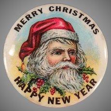 Vintage Santa Claus Celluloid Pinback - Christmas Pin Back with Ribbons and Original Card