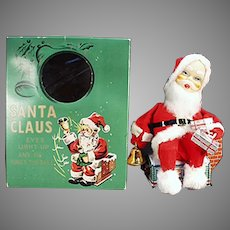 Vintage B.O. Battery Operated Santa Claus Toy in Original Box