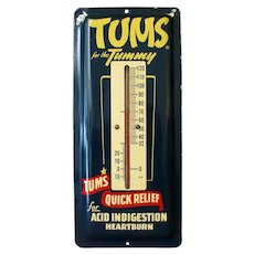 Vintage Tums for the Tummy Advertising Thermometer – Enamel Painted Metal