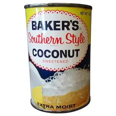 Vintage Baker's Southern Style Coconut Tin – Never Opened - Colorful Old Advertising Tin