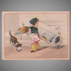 Vintage Moffitt's Restaurant Advertising Trade Card - Comical Boy, Cat and Goose Scene