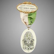 Vintage 1908 Fraternal Pin - Walla Walla Odd Fellows Memorabilia - Celluloid