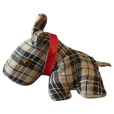Vintage Plaid Dog Tape Measure Pincushion - Scotty Dog Sewing Accessory