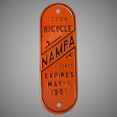 Vintage 1951 Bicycle License Plate from Nampa Idaho