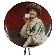 Vintage Hand Held Celluloid Mirror with Victorian Woman Sipping Tea