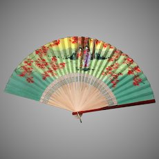 Vintage O.J. Japanese Bamboo and Paper Folding Fan with Geishas – Occupied Japan