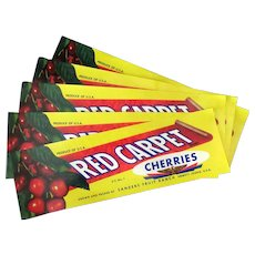 Five Vintage Fruit Crate Labels - Emmett Idaho Red Carpet Cherries