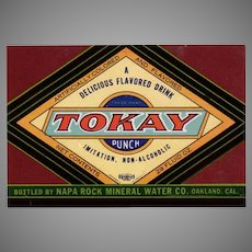 Vintage Soda Bottle Paper Label  - Colorful Tokay Punch