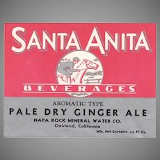 Vintage Soda Bottle Paper Label - Santa Anita Beverages Ginger Ale